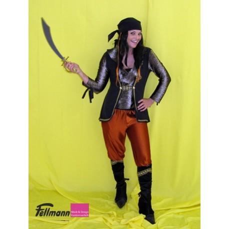 Piratin mit Stiefeln, rostrot
