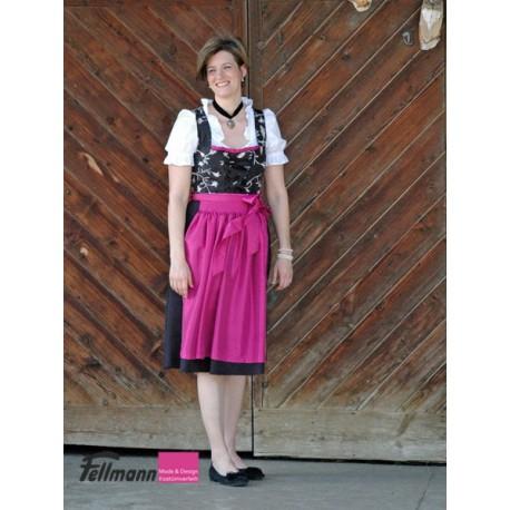 Dirndl Nr. 18/19 schwarz, Schürze pink