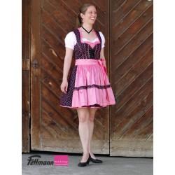 Dirndl Nr. 24 schwarz-pink getupft, Schürze pink
