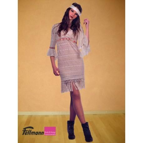 Hippie-Kleid beige Fransen
