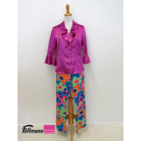 Hippie Blumenhose, Bluse violett