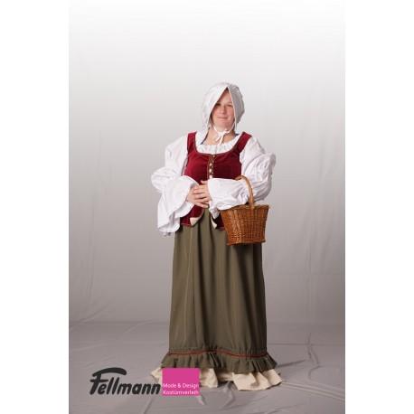 Mittelalter Dame bordeaux-oliv