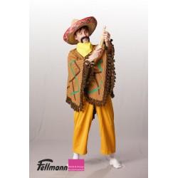 Mexikaner Poncho gelb-braun gestreift