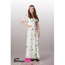 70er Jahre Kleid weiss getupft