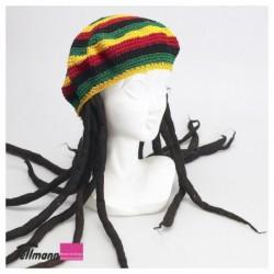 Rasta Mütze mit Haar