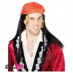 Piratenperücke mit Kopftuch rot