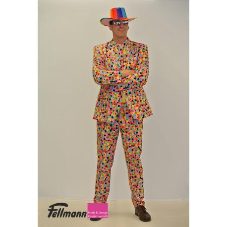 Konfetti-Anzug bunt: Kittel, Hose, Kravatte